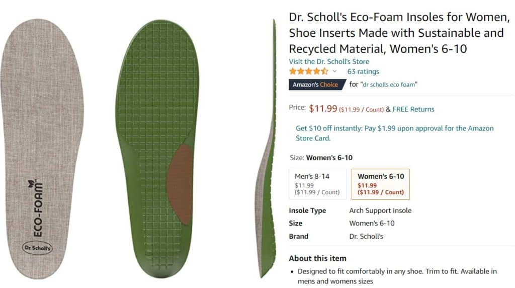 sustainable shoe inserts as an eco dropshipping product