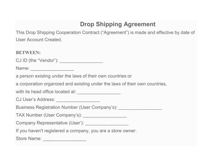 Drop Shipping agreement from CjDropshipping