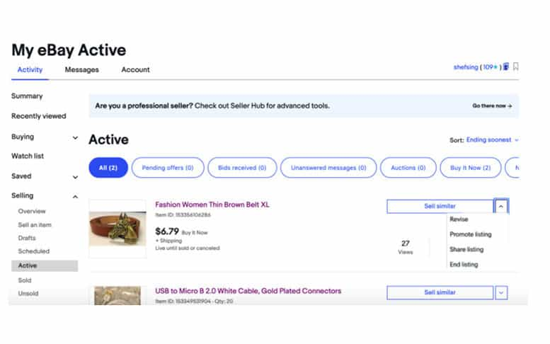 Promote listing button in the My eBay Active section