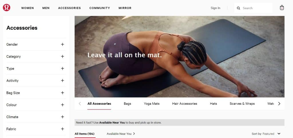 Lululemon is a Canadese supplier