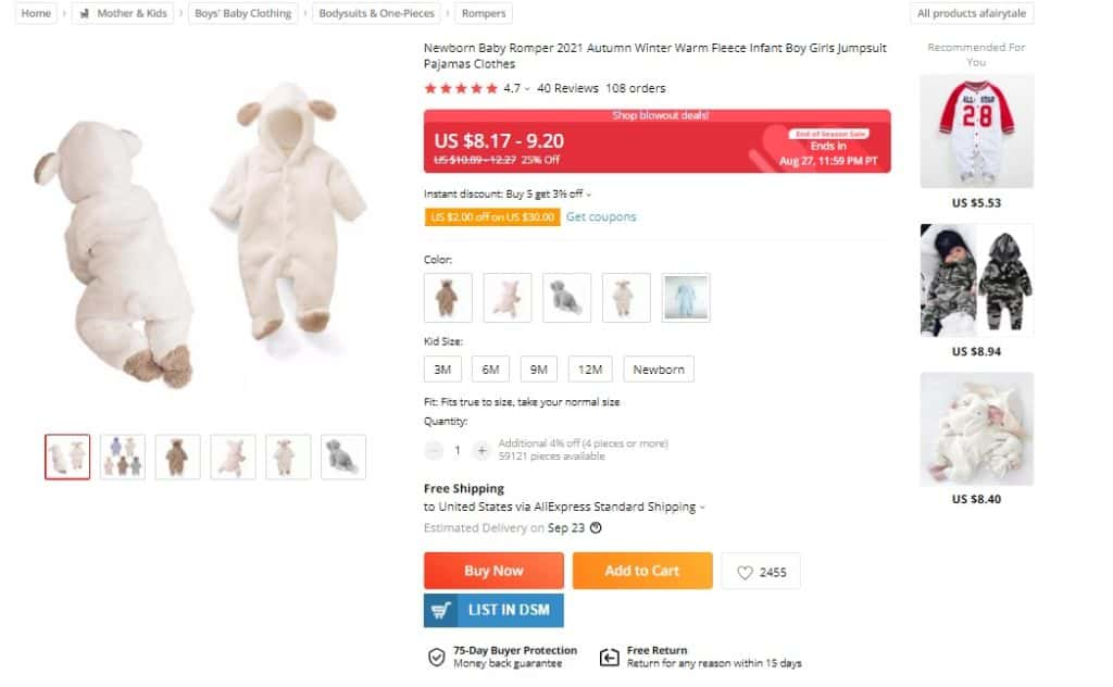 dropshipping baby clothes from Ali Express