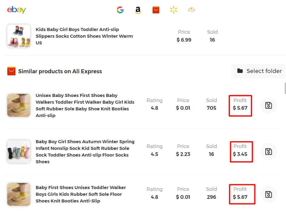 example of profits for similar baby items for dropshipping on eBay
