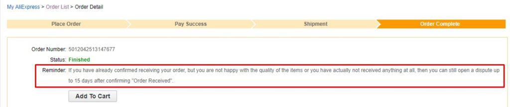 The Aliexpress buyer protection time