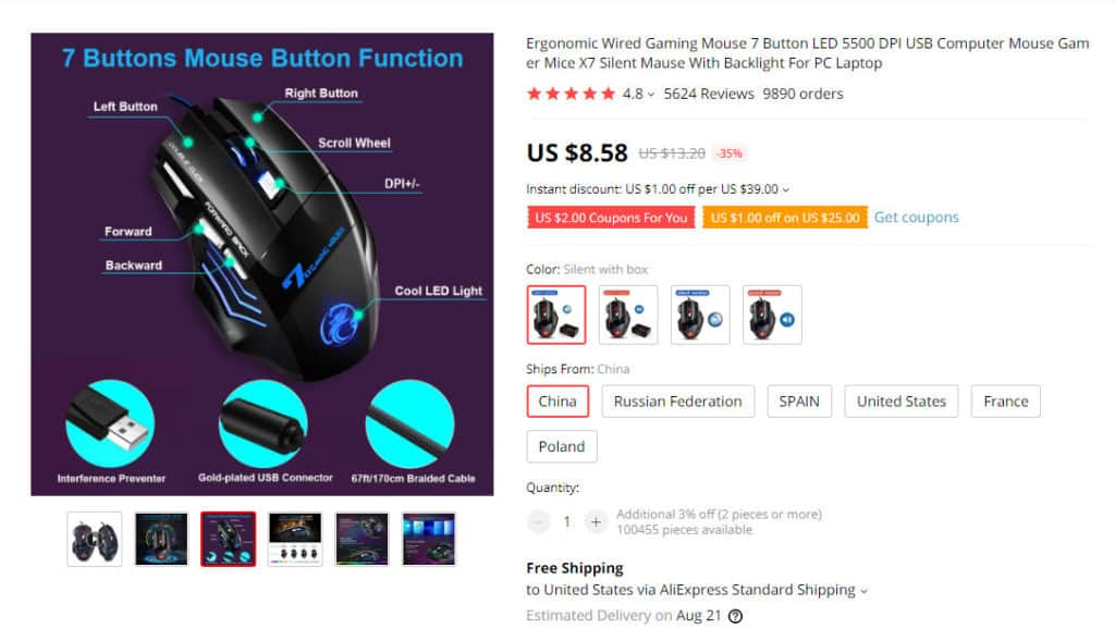 Aliexpress example of popular gaming products to sell