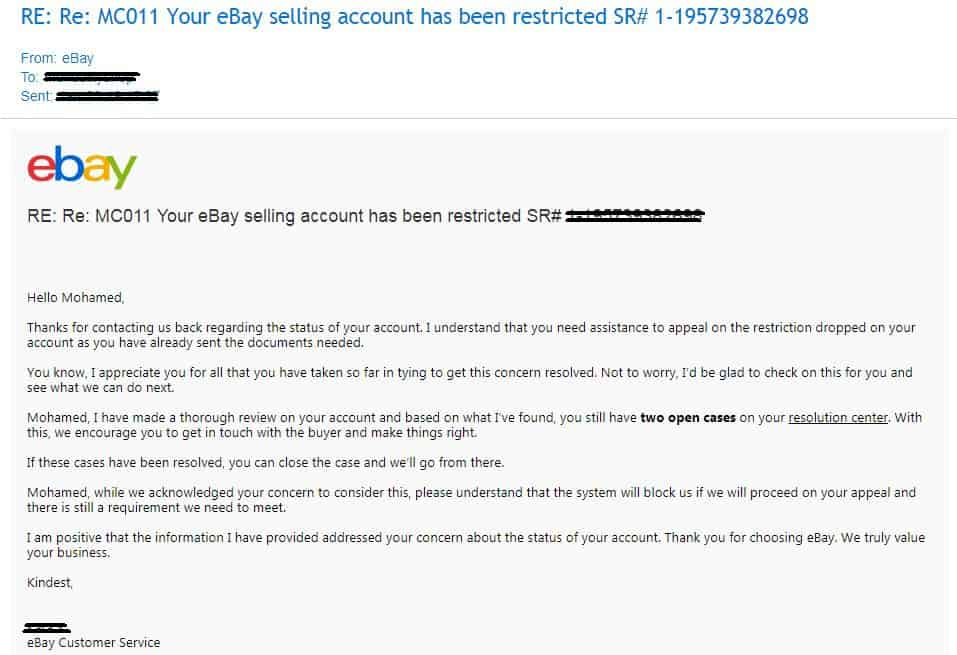 eBay account restriction isn't got due to eBay dropshipping