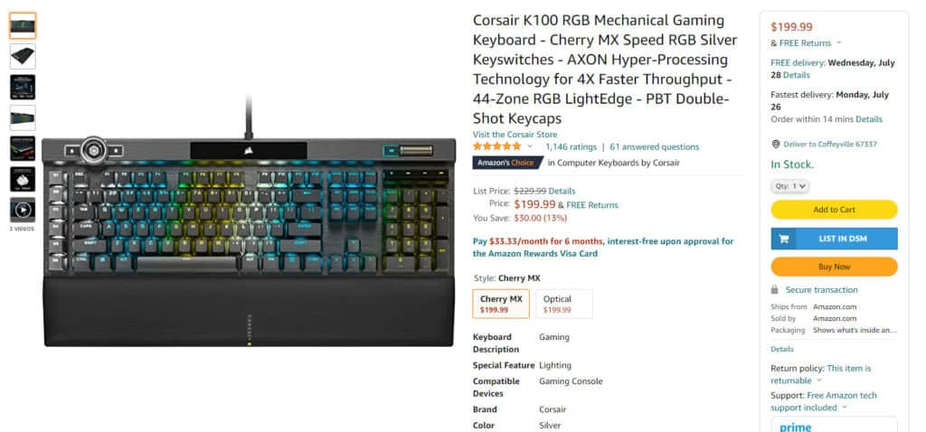 Amazon bestselling product in the keyboard gaming niche