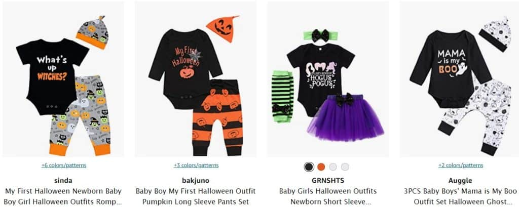 Halloween baby clothes for dropshipping from Amazon