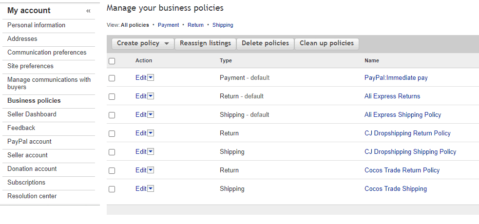The eBay business policies for dropshipping
