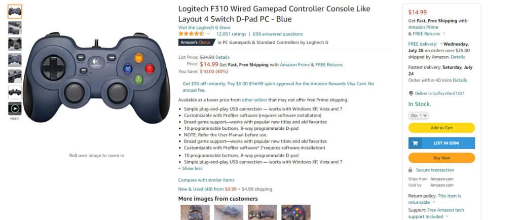 One of the popular gaming controllers from Amazon
