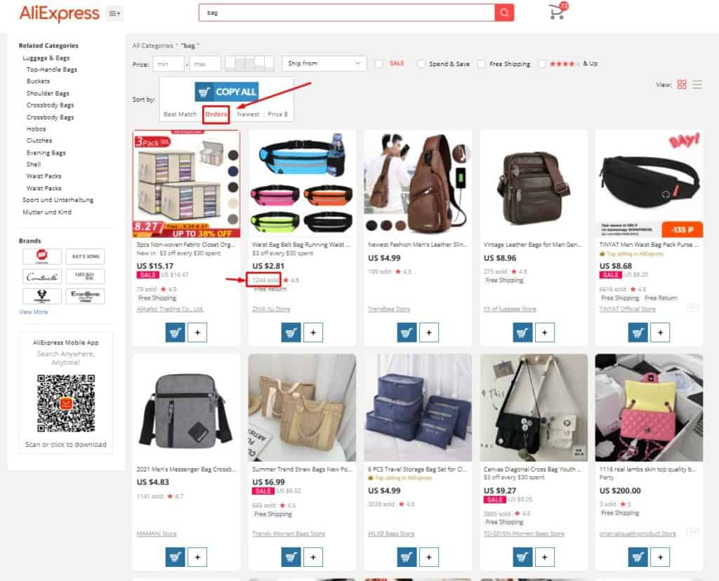 Sort By Orders to detect Aliexpress top sellers
