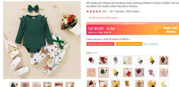 AliExpress example for selling online infant products