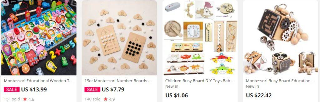 A couple of children busy board products from Aliexpress