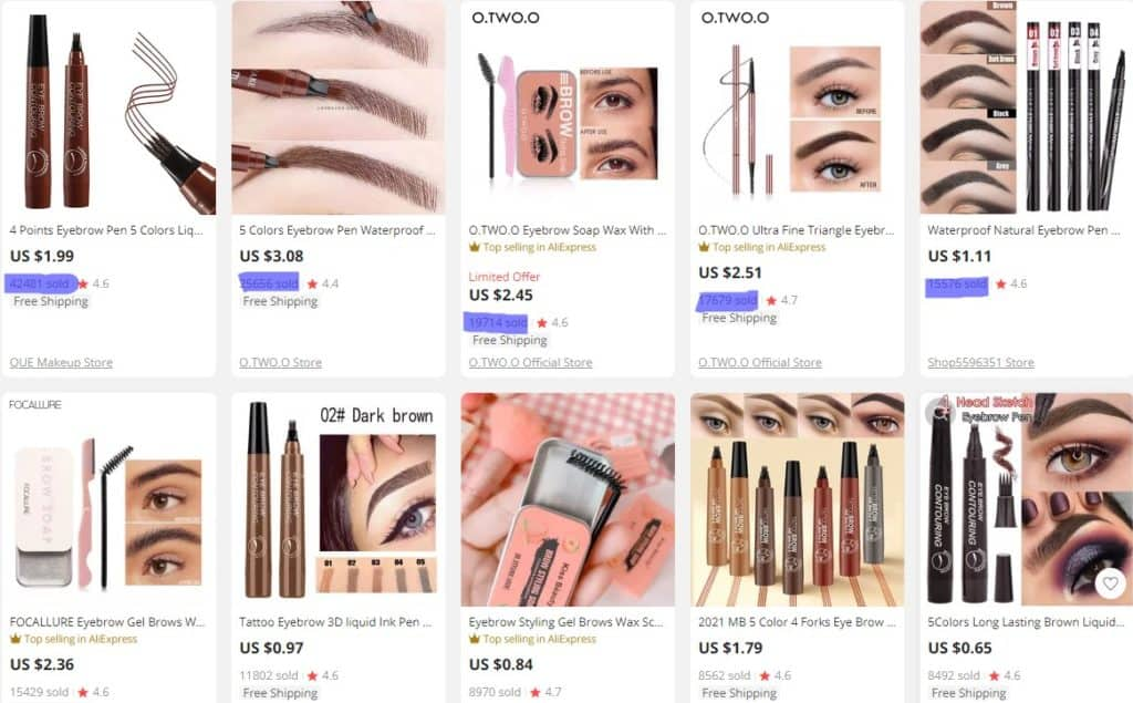 popular Aliexpress products for dropshipping makeup