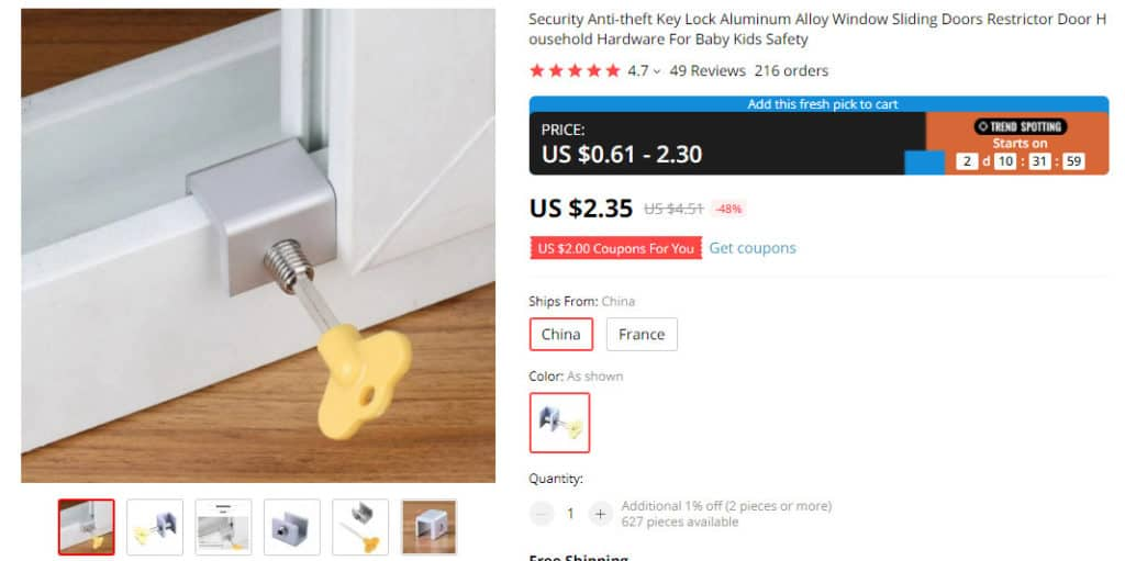 dropshipping security products from AliExpress