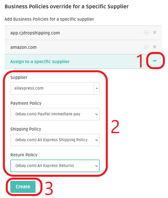 setting ebay business policies for specific site on dsm tool