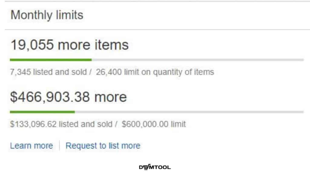 eBay monthly limits on the Seller hub