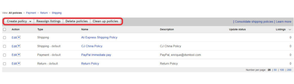 Buttons to manage eBay business policies